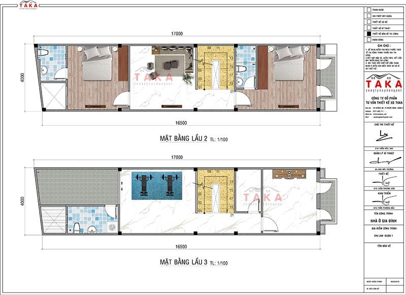 Bản vẽ nhà phố 4 tầng 4x17m tân cổ điển