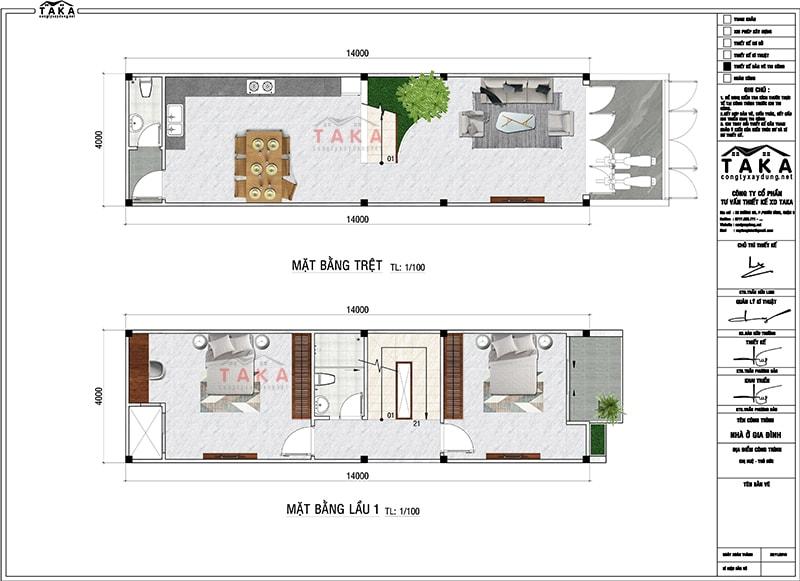 Bản vẽ mặt bằng nhà phố 3 tầng 1 tum 4x14m hiện đại