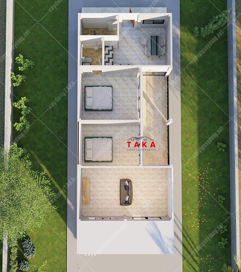 Mặt bằng mẫu nhà cấp 4 mặt tiền rộng 6m 2 phòng ngủ