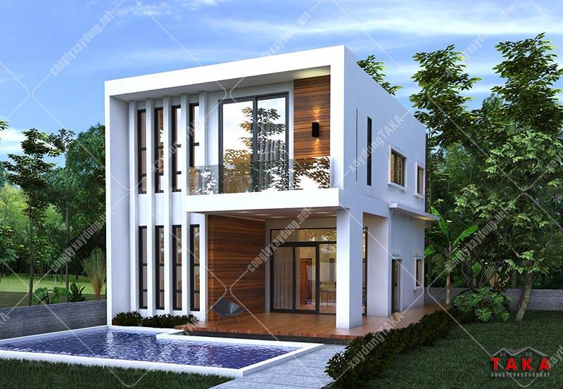 Mẫu thiết kế nhà vuông 2 tầng 80m2 hiện đại