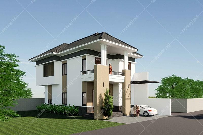 Thiết kế biệt thự 2 tầng mặt tiền 7m dài 13m