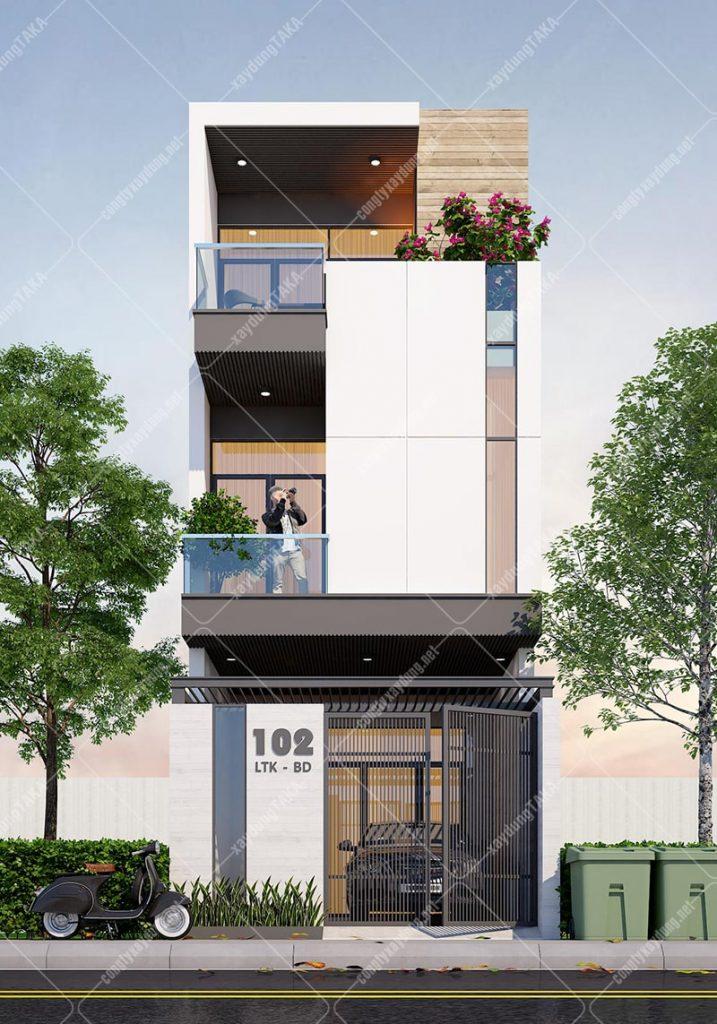 Thiết kế nhà phố 1 trệt 2 lầu 4,5m x 14m
