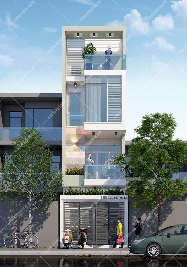 Thiết kế nhà phố 3 tầng 1 tum 4x14m hiện đại