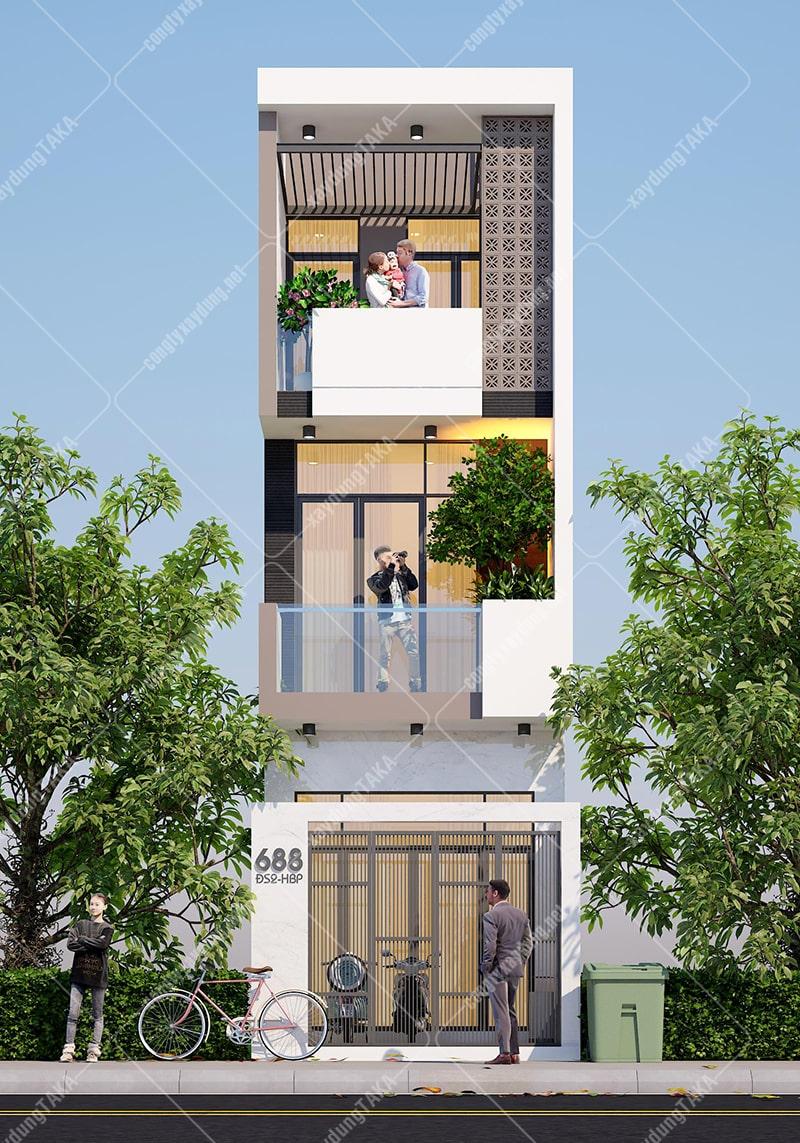 Thiết kế nhà phố 3,5m x 15m hiện đại