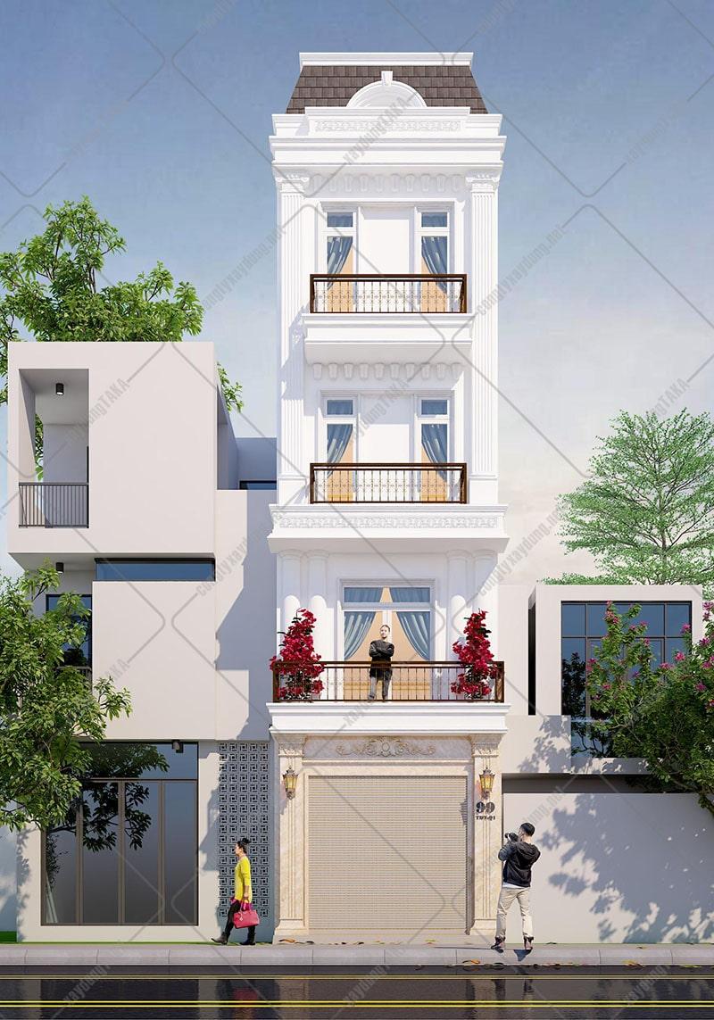 Thiết kế nhà phố 4 tầng 4x17m tân cổ điển kiểu châu âu