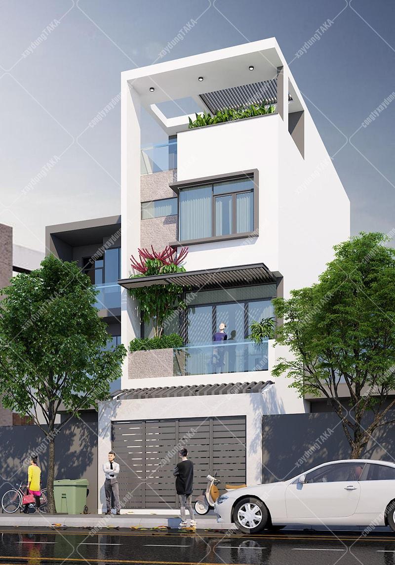 Mẫu thiết kế nhà phố 4 tầng mặt tiền 5m dài 11,5m hiện đại