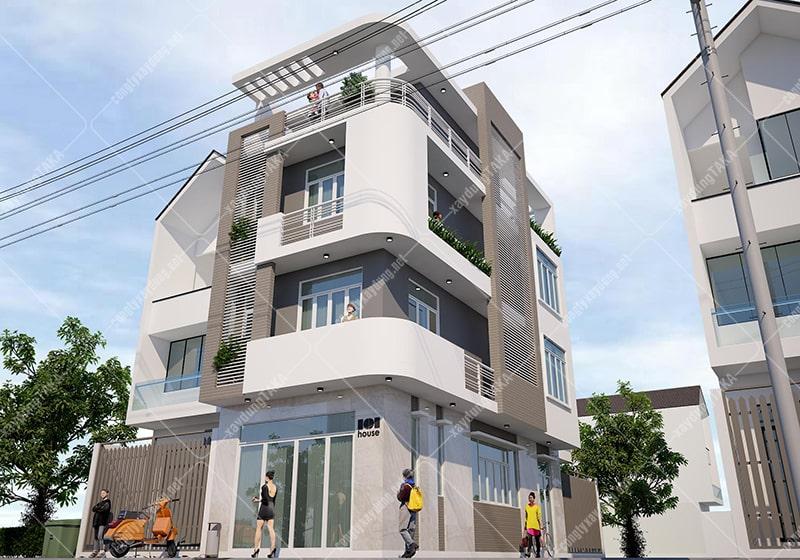 Thiết kế nhà phố góc 2 mặt tiền 5m
