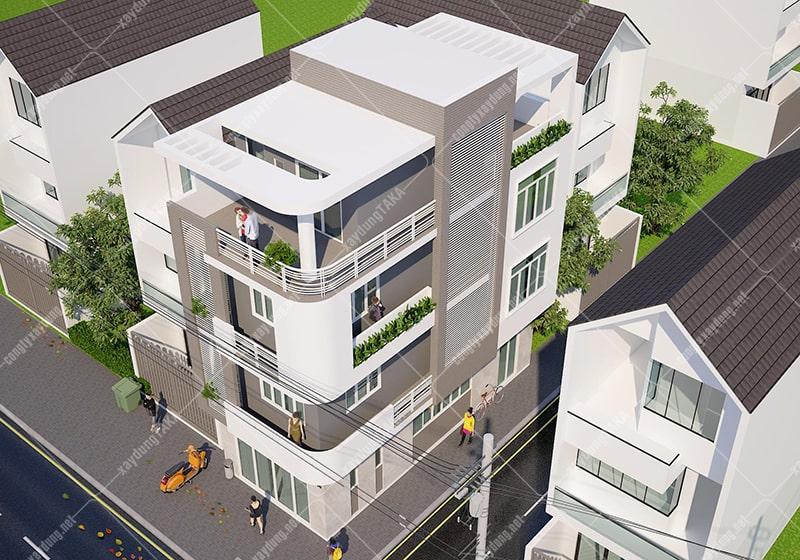 Thiết kế nhà phố góc 2 mặt tiền 4 tầng hiện đại 5x13m