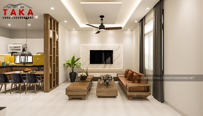 Thiết kế 3D nội thất biệt thự 2 tầng 7x13m hiện đại