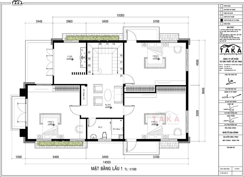 Bản vẽ mặt bằng thiết kế biệt thự 2 tầng mái thái rộng 9m