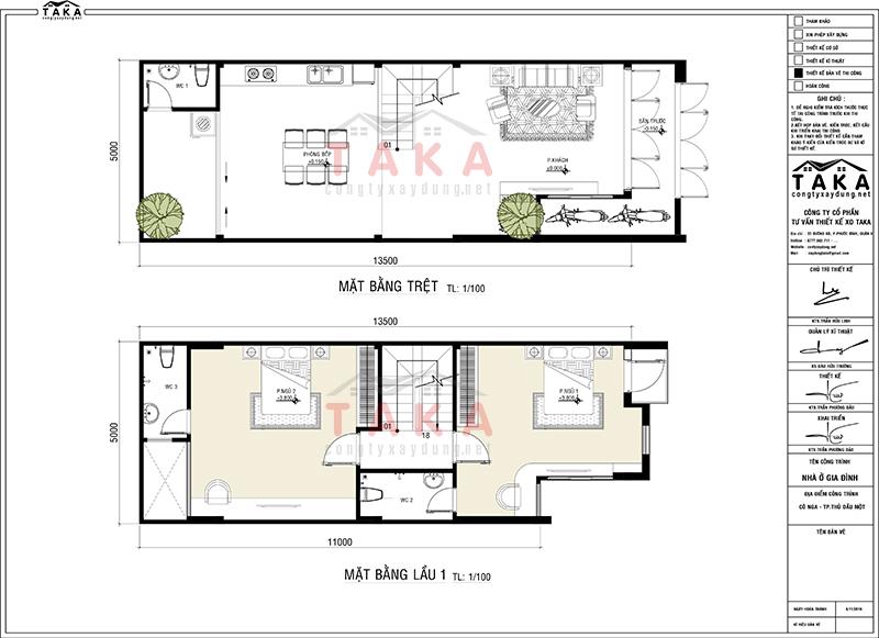 Bản vẽ mặt bằng thiết kế nhà ống 5x14m 3 tầng 4 phòng ngủ