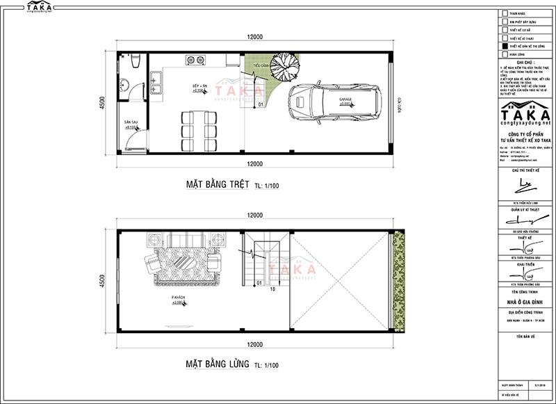 Bản vẽ mặt bằng thiết kế nhà ống có tầng lửng 4,5m