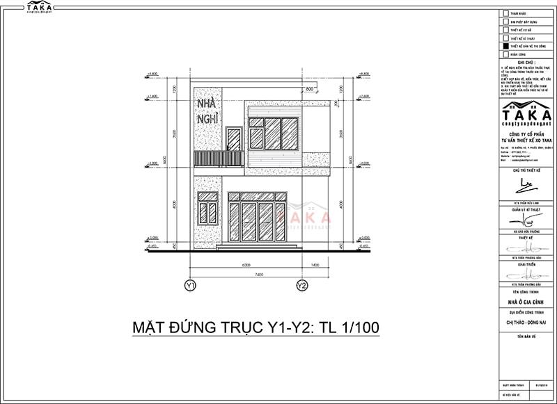 Bản vẽ mặt bằng thiết kế nhà phố 2 tầng 6mx20m kết hợp kinh doanh nhà nghỉ