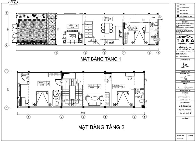 Bản vẽ mặt bằng thiết kế nhà phố 5x22m