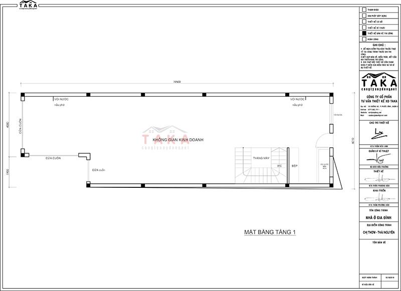 Bản vẽ mặt bằng thiết kế nhà phố 6x20m kết hợp ở và kinh doanh
