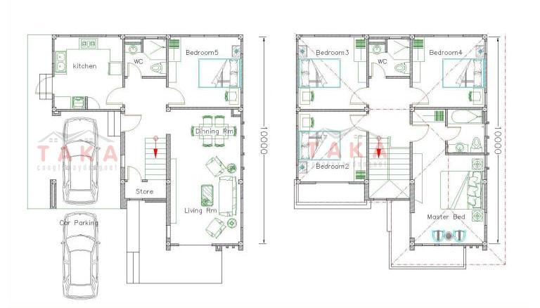 Bản vẽ mặt bằng thiết kế nhà vuông 8x10m