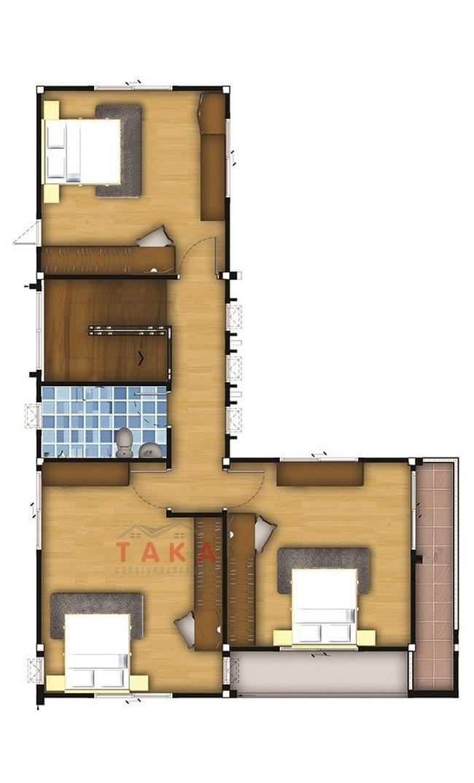 Bản vẽ mặt bằng mẫu nhà 2 tầng chữ l 100m2