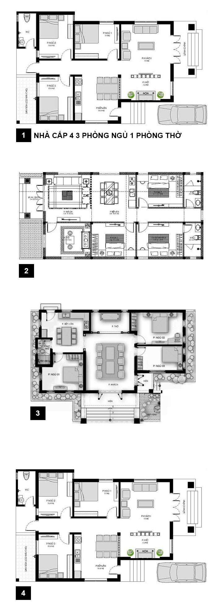 Bản vẽ mẫu nhà cấp 4 120m2 3 phòng ngủ 1 phòng thờ
