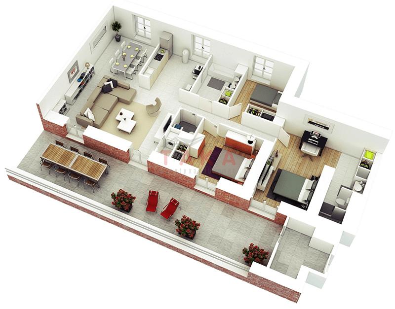 Mặt bằng 3D mẫu nhà cấp 4 120m2 3 phòng ngủ 1 phòng thờ