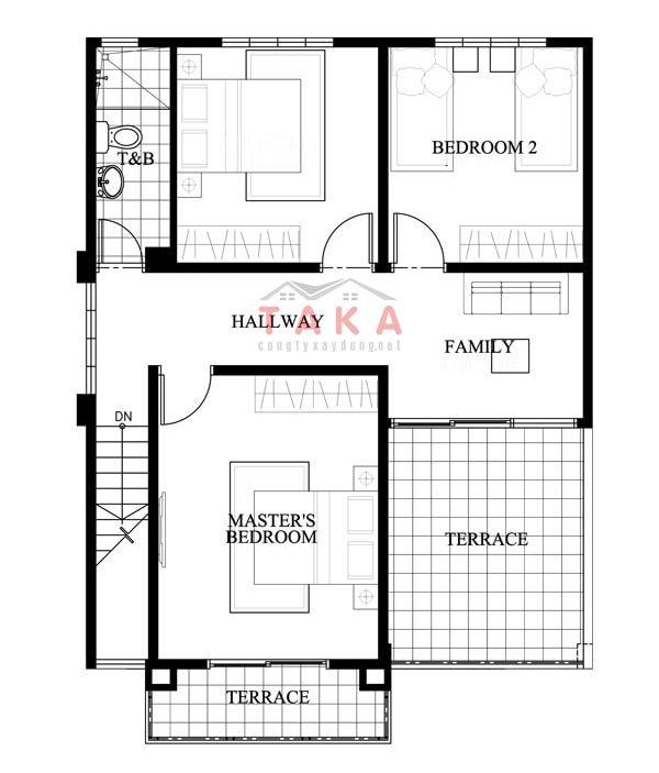 Mặt bằng thiết kế nhà vuông 8x9m