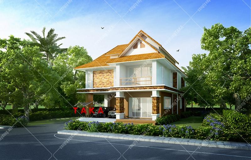 Mẫu nhà 2 tầng mái thái đẹp ở nông thôn