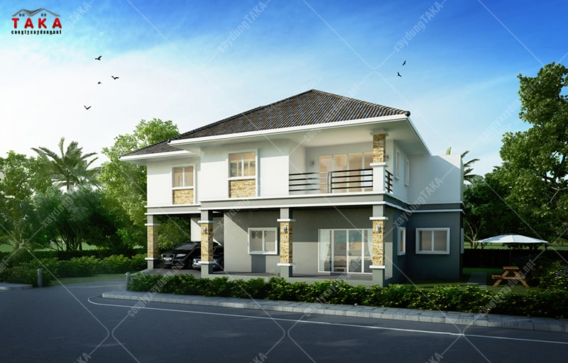 Mẫu nhà 2 tầng mái thái ở nông thôn