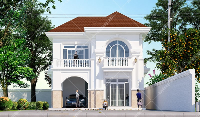 Thiết kế biệt thự 2 tầng mái thái rộng 9m