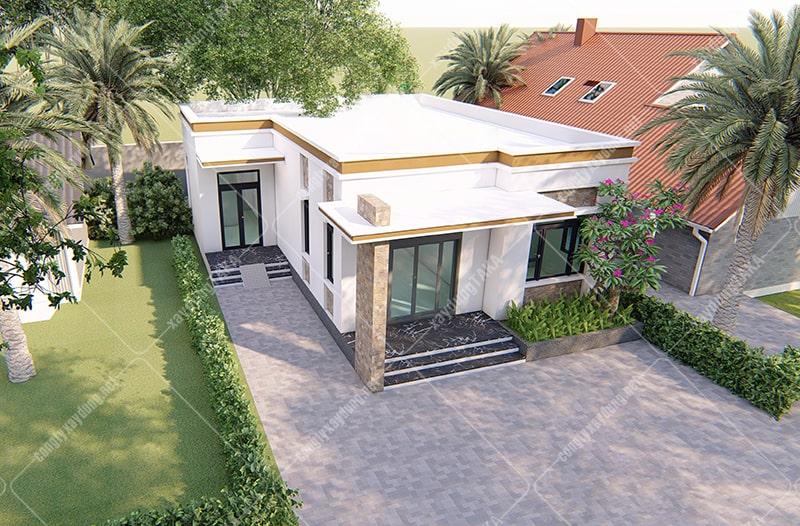 Thiết kế nhà cấp 4 mái bằng 2 phòng ngủ
