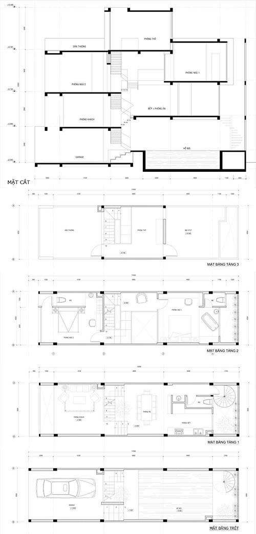 Thiết kế nhà ống lệch tầng 4x17m