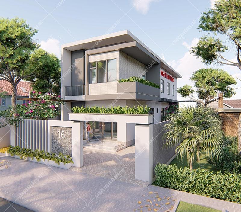 Thiết kế nhà phố 2 tầng 6mx20m kết hợp kinh doanh nhà nghỉ