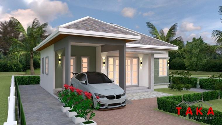 Thiết kế nhà vuông 10x10 mái thái 1 tầng