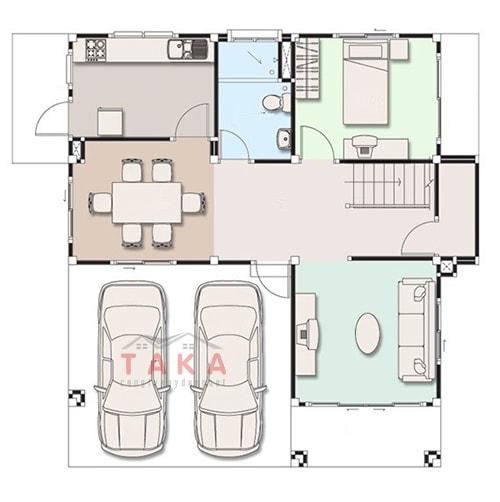 Thiết kế nhà vuông 10x10 2 tầng