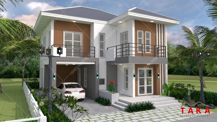 Thiết kế nhà vuông 8x10m