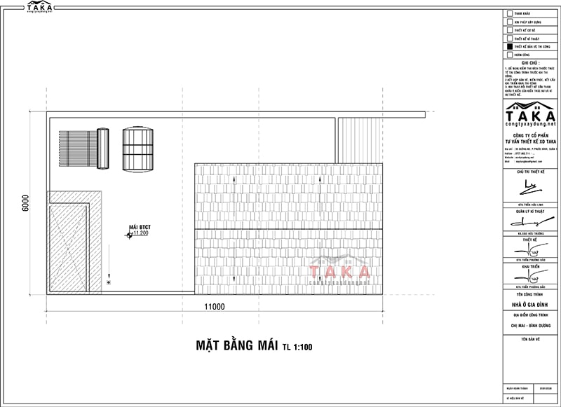 Bản vẽ mặt bằng thiết kế nhà phố 6x11m