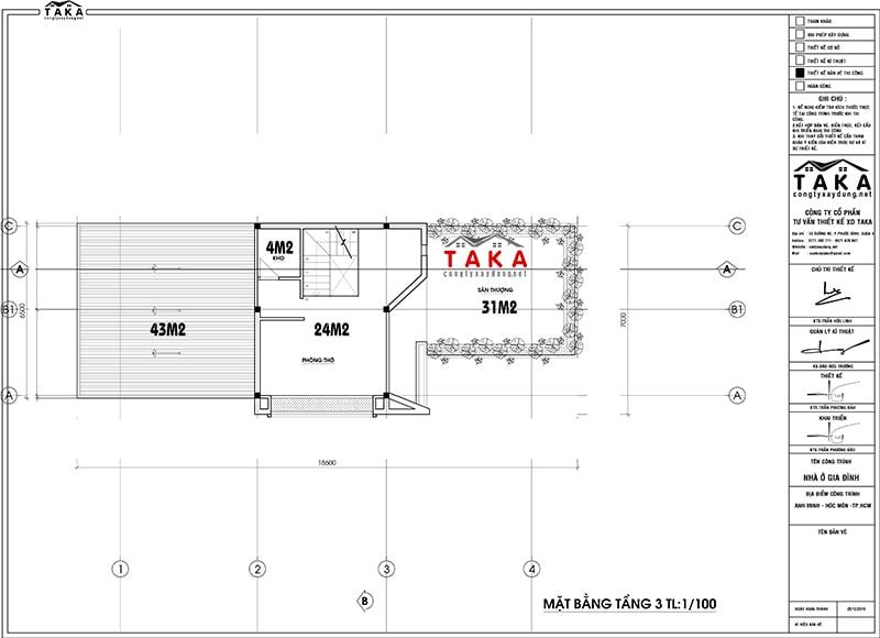 Bản vẽ mặt bằng biệt thự mini 3 tầng 7m mái bằng hiện đại