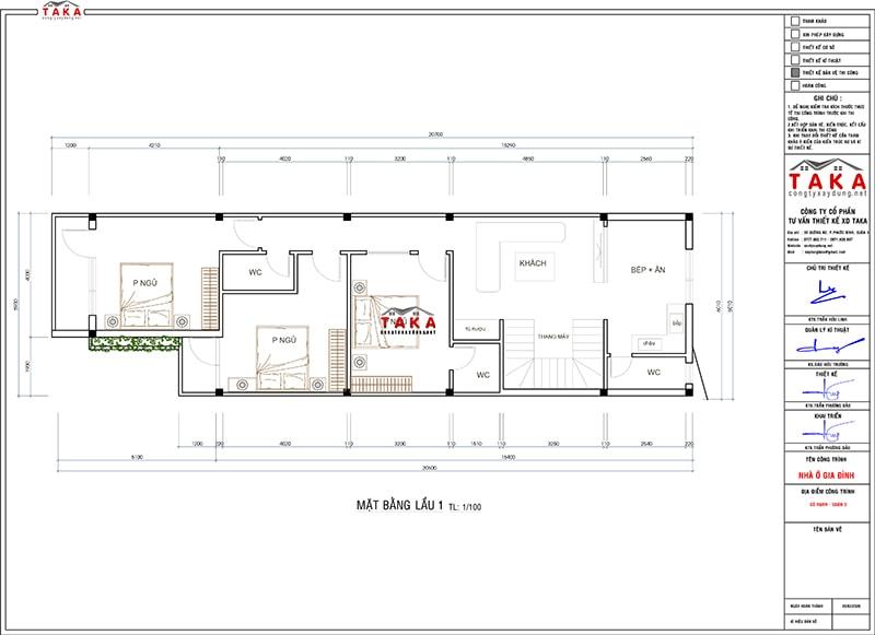 Bản vẽ mặt bằng nhà phố 3 tầng rộng 6m vừa ở vừa kinh doanh
