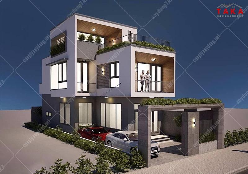 Thiết kế biệt thự mini 3 tầng 7m mái bằng hiện đại