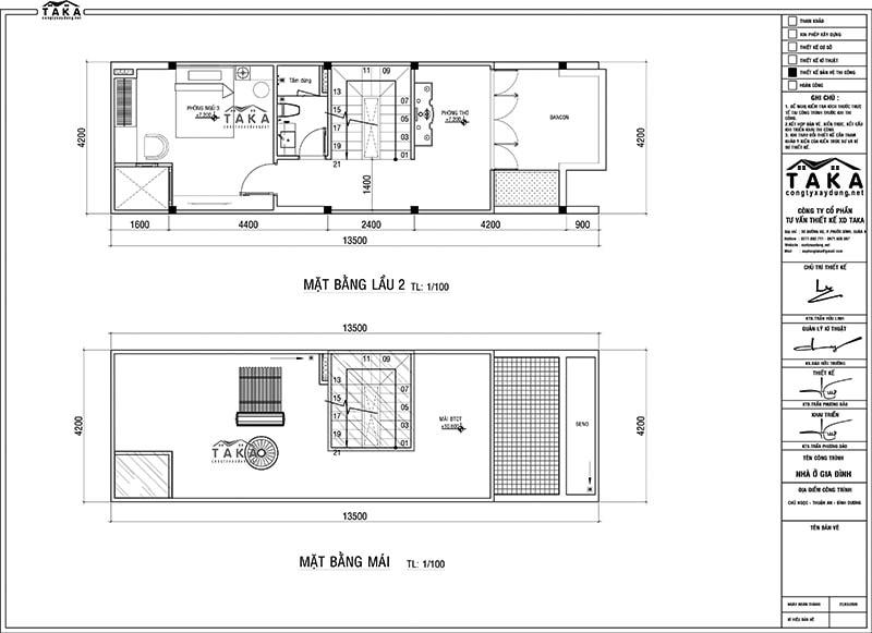 Bản vẽ mặt bằng nhà ống 4x14m 1 trệt 2 lầu mặt tiền đơn giản