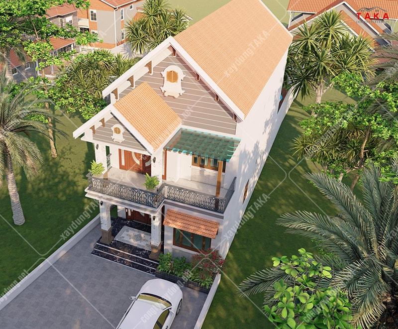 Mẫu nhà 2 tầng rộng 7m mái thái ở nông thôn