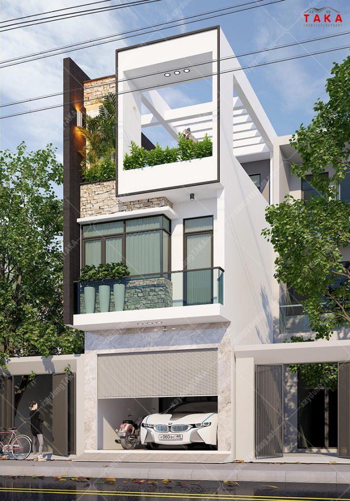 Thiết kế nhà phố mặt tiền 4,5m 1 trệt 2 lầu hiện đại