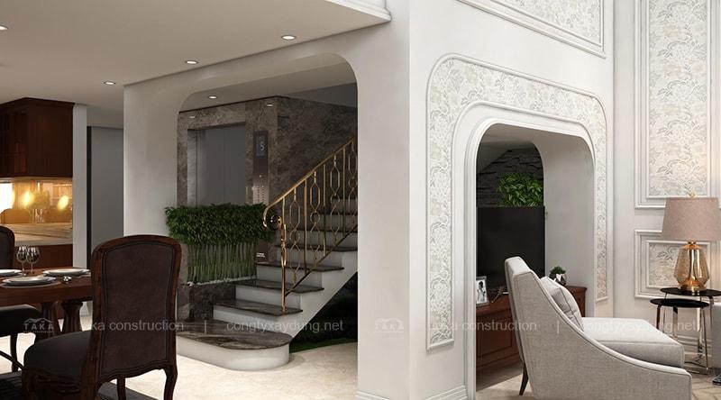 Thiết kế nội thất biệt thự phố 8x12m tân cổ điển