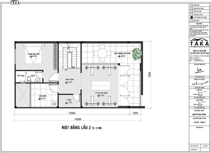 Bản vẽ mặt bằng biệt thự phố 7x13m hiện đại