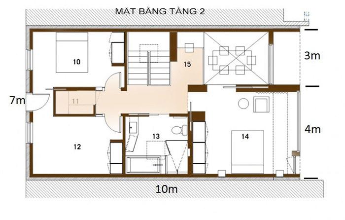 Bản vẽ mặt bằng mẫu nhà vuông 2 tầng 70m2