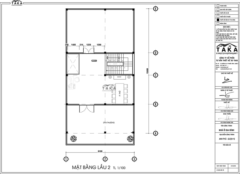 Bản vẽ mặt bằng biệt thự phố 8x15m 3 tầng hiện đại