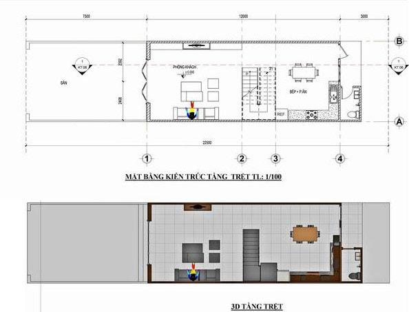 Bản vẽ mặt bằng thiết kế nhà 2 tầng 60m2 5x12m