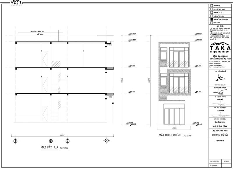 Bản vẽ mặt bằng thiết kế nhà phố ngang 4m dài 13m