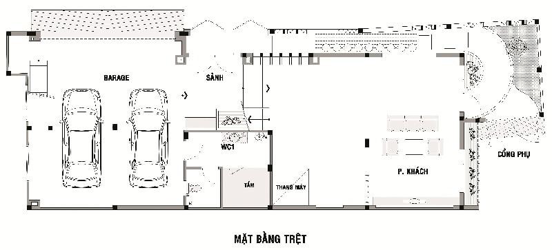 Bản vẽ nhà 3 tầng 7x15 hiện đại