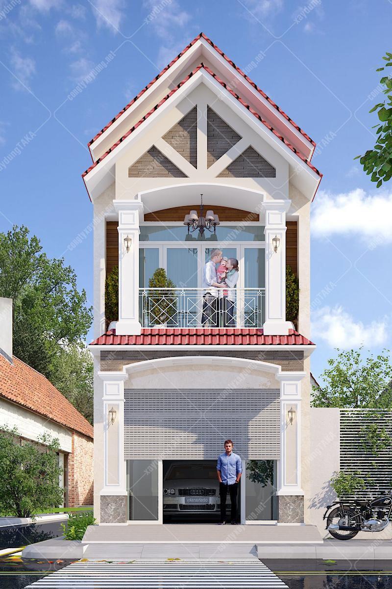 Thiết kế nhà phố 4x20 tân cổ điển 1 trệt 1 lầu