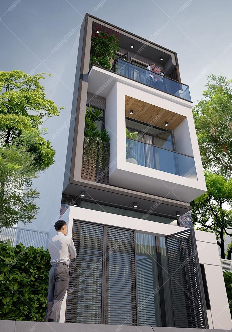 Thiết kế nhà phố ngang 4m dài 13m