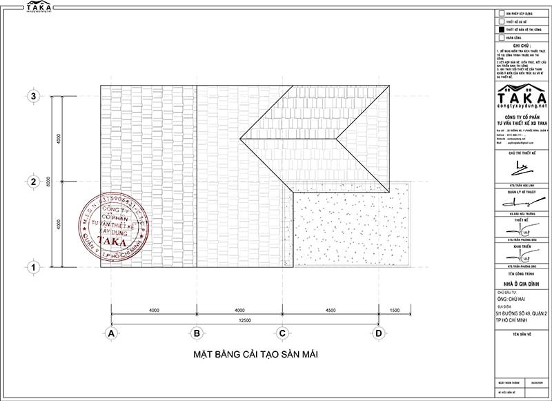 Mặt bằng cải tạo biệt thự 1 trệt 1 lầu 8x12m